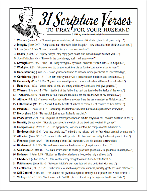 31 Verses to Pray for Your Husband | another free printable from flandersfamily.info