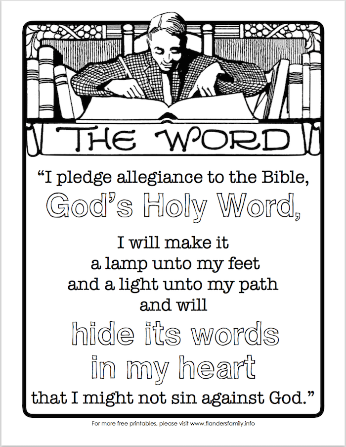 Pledge of allegiance to the bible free printable for Pledge of allegiance coloring page