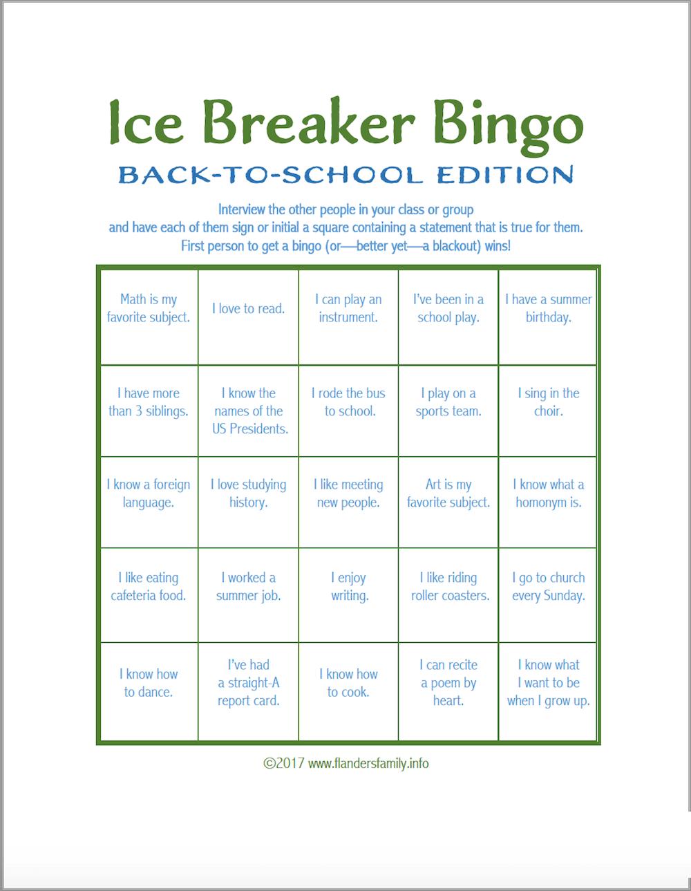 Ice Breaker Bingo Back To School Version Flanders