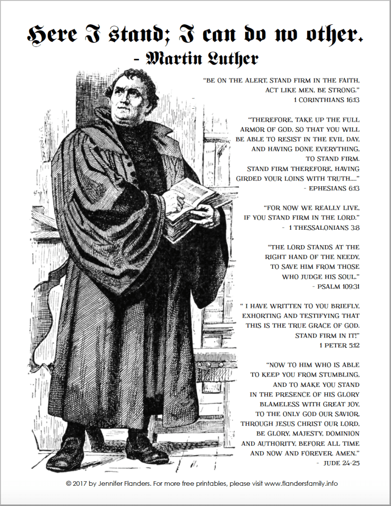 Reformation Day   Martin Luther   Printable Activity Pages