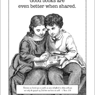 Good Books Beg to be Shared (Coloring Page)