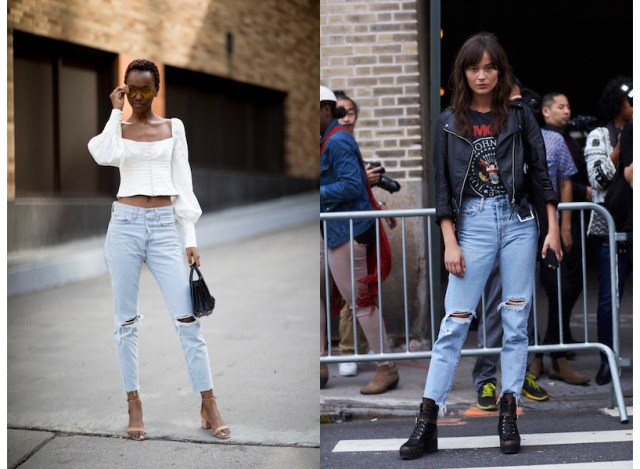 Denim fit guide: women wear distressed jeans to NYFW.
