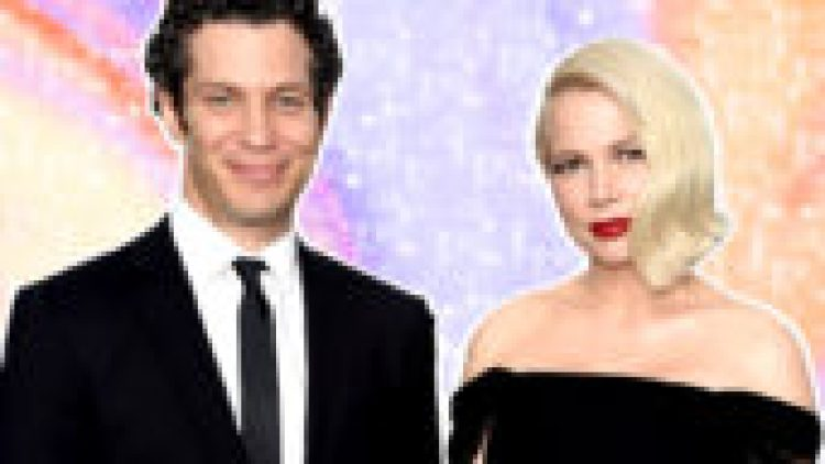 celebrity weddings 2020: Michelle Williams and Thomas Kail are pictured wearing a black off-the-shoulder gown and black tux, respectively