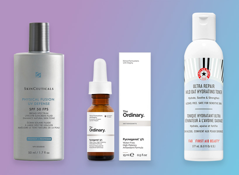 A Skinceuticals sunscreen, The Ordinary antioxidant and First Aid Beauty toner against a gradient blue-purple background. These are the skincare products I use for dry acne prone skin