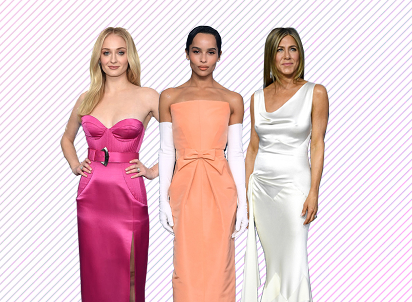 Photoshopped image of Sophie Turner in a hot pink dress, Zoë Kravitz in a peach dress and Jennifer Aniston in a silky white dress against a background of pink diagonal lines