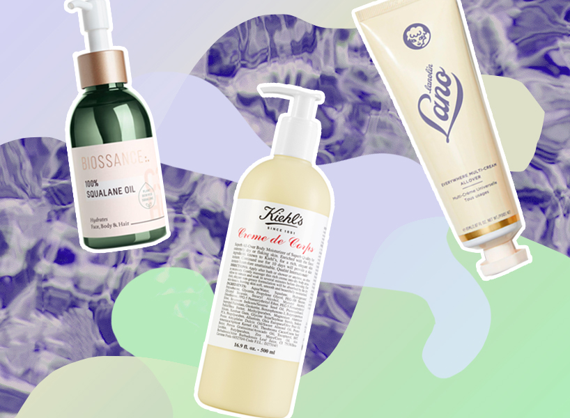 best moisturizers for body: Biossance, Kiehl's and Lano body lotions against a light purple background with marbled dark purple and green patches.