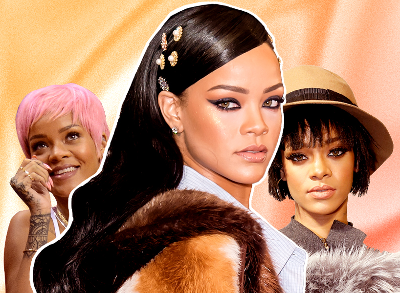 a collage of two photos of rihanna with short hair, with slicked dark hair and with bangs