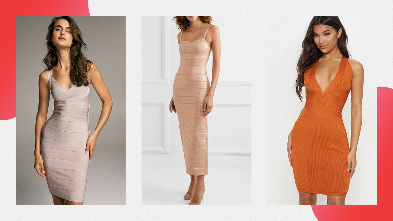 Three examples of bandage dresses, body-contouring and tight-fitting dresses