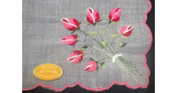 Cotton Vintage Swiss Rose Bouquet Embroidered Hanky