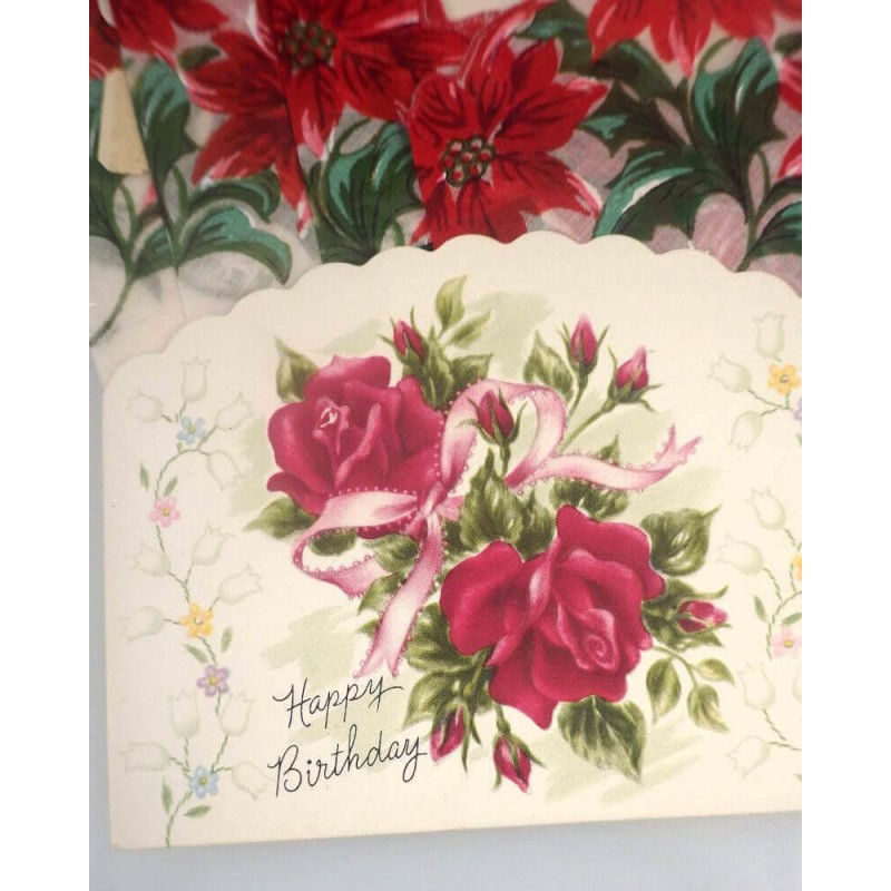 Christmas Poinsettia Vintage Santa Handkerchief Birthday