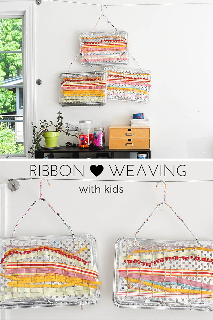 How to make ribbon weaving project with kids using a disposable grilling pan as a loom.