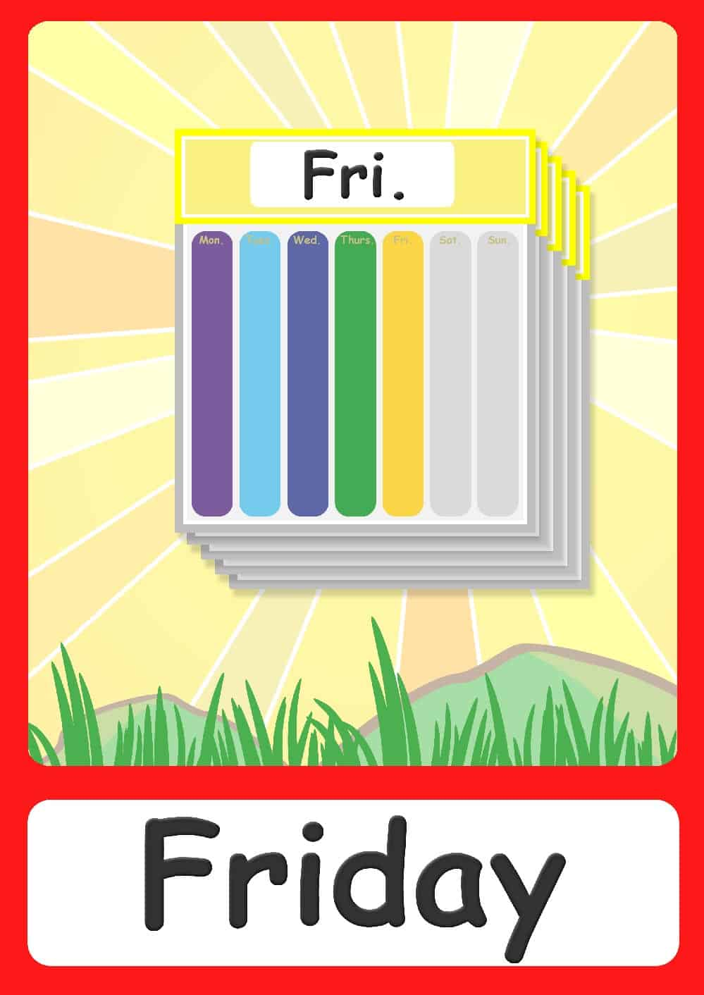 Days Of The Week Flashcards Free Printable Flashcards Posters