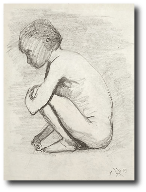 She tied its tiny limbs together and placed it in a bag at the bottom of her chest and filled it with rocks. She paid a merchant to take the chest to her farthest route and dump it in some still water. Artwork:  c. 1898,by Paula Modersohn-Becker.This work is in the public domainand comes to us via .