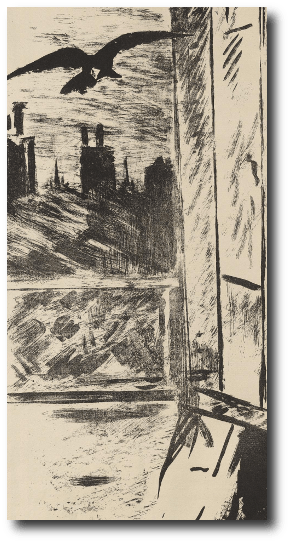 The pile of pillows and the old wig were still feigning sleep when a pair of ravens landed on the windowsill. Artwork : This drawing is in the .