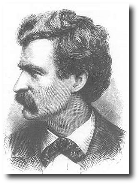 """Here are gifts. Take one, leave the others. And be wary, choose wisely; oh, choose wisely! for only one of them is valuable."" Artwork : This 1874 engraving of Twain is in the public domain."