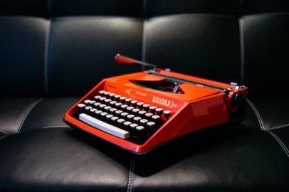 write on a red typewriter