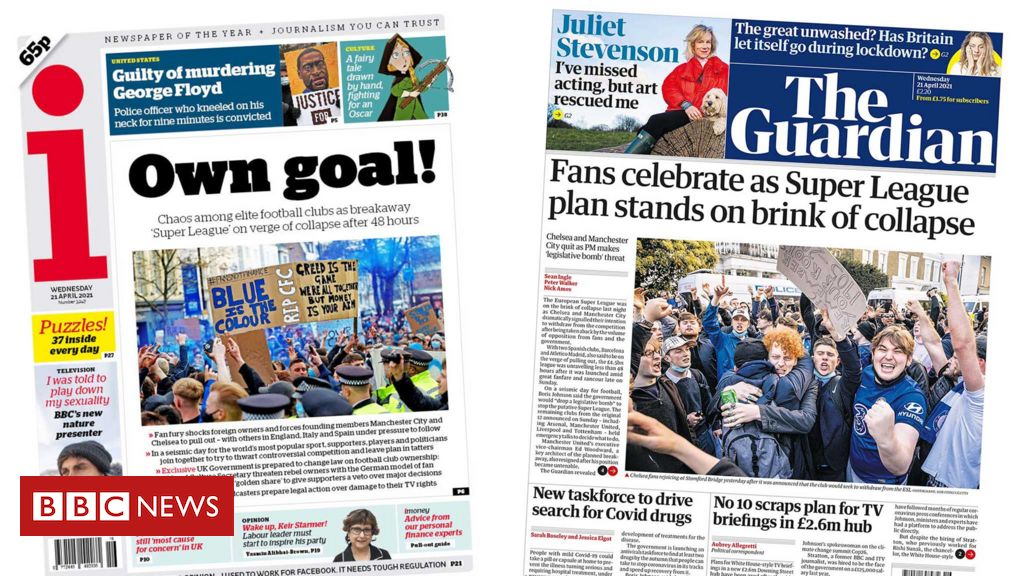 Newspaper headlines: Super League 'in tatters' and Chauvin found guilty