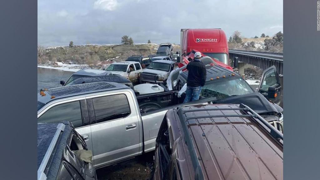Two people were injured in a 30-vehicle pileup in Montana