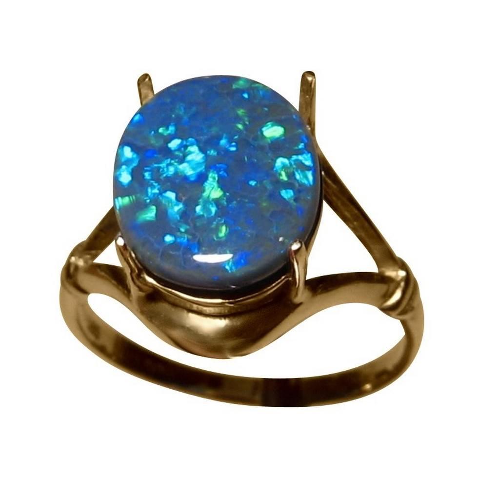 Black Opal Ring 3 Carat Blue Australian Gem FlashOpal