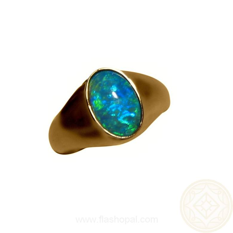 Mens Opal Ring 14k Gold Green Blue Oval Opal Rings Men