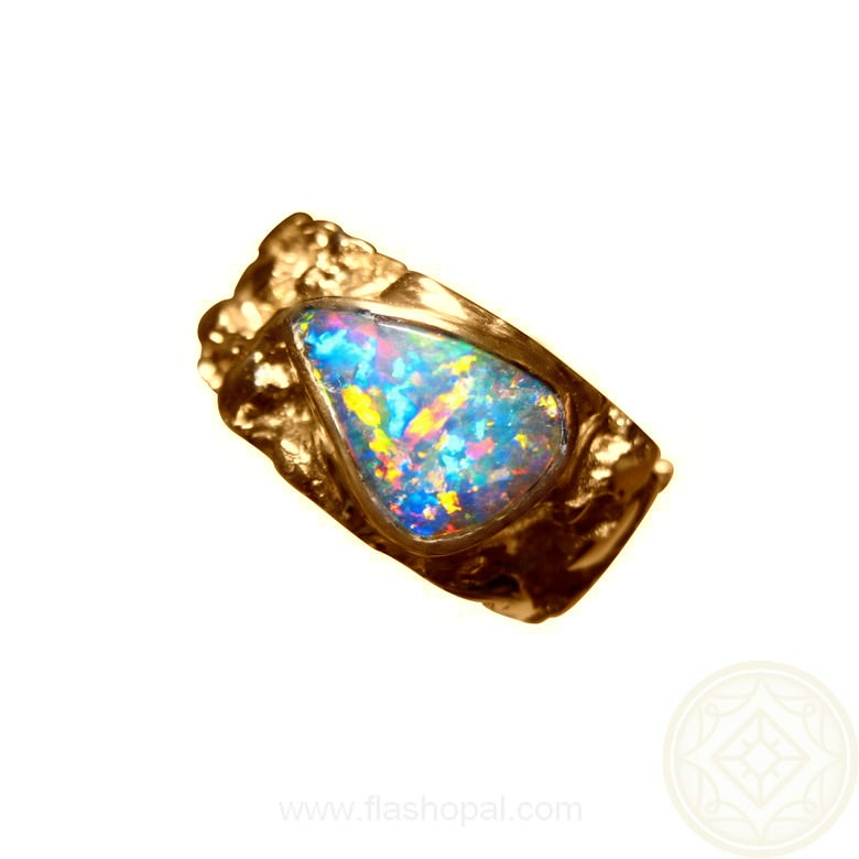 Mens Boulder Opal Gold Ring Textured Design FlashOpal