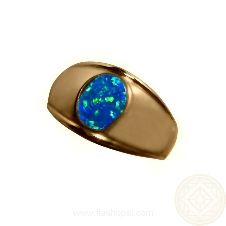 Mens Blue Opal Ring 14k Gold Wide Band Opal Ring Men
