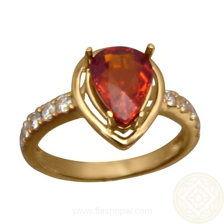 Hessonite Diamond Ring 14k Gold Pear Cut Hessonite Ring