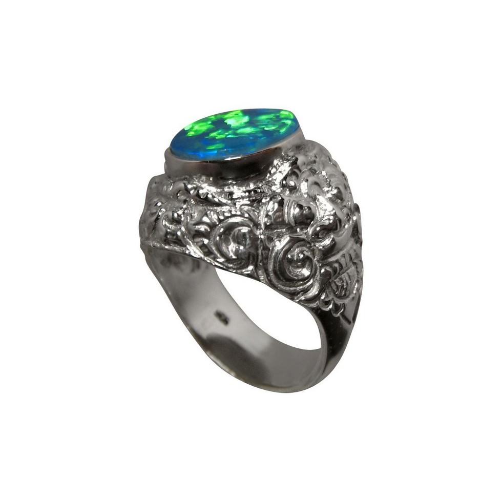 Mens Blue Opal Ring Heavy 925 Silver Lion Opal Ring Men