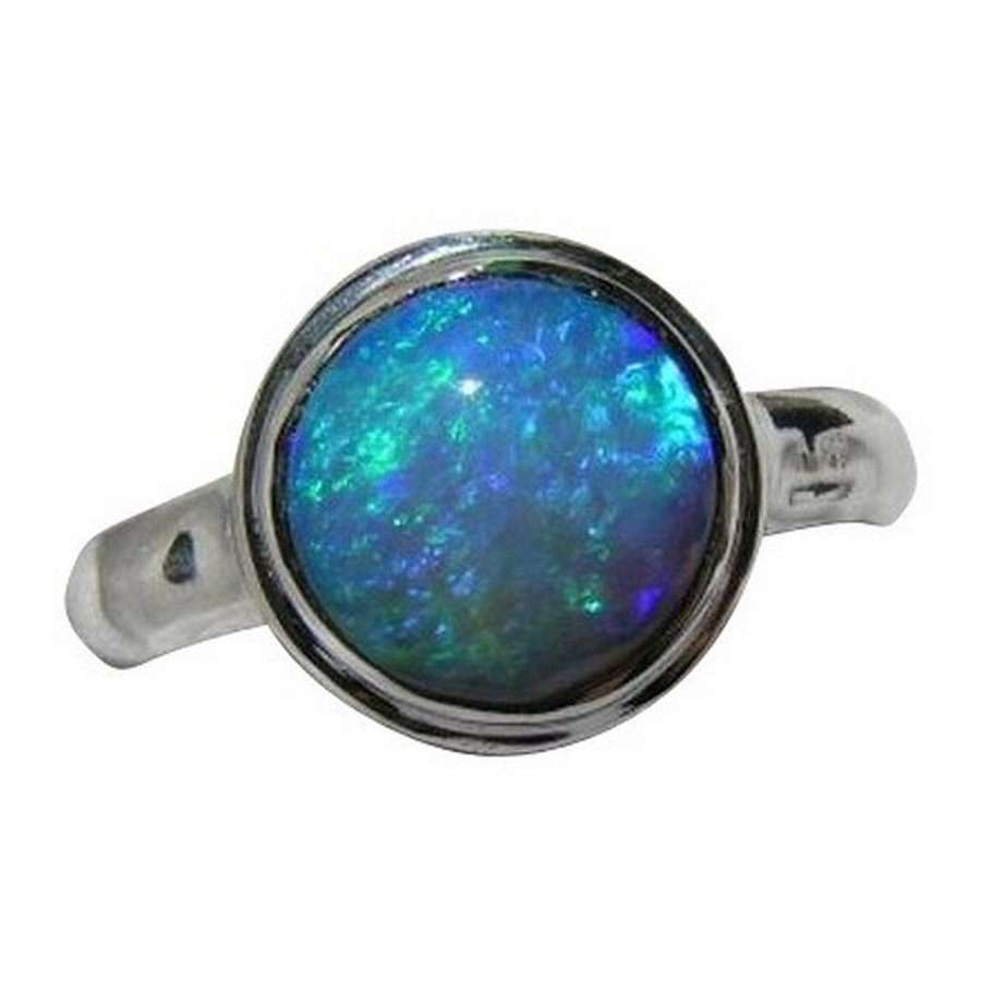 Round Blue Opal Ring 18k White Gold Opal Ring FlashOpal
