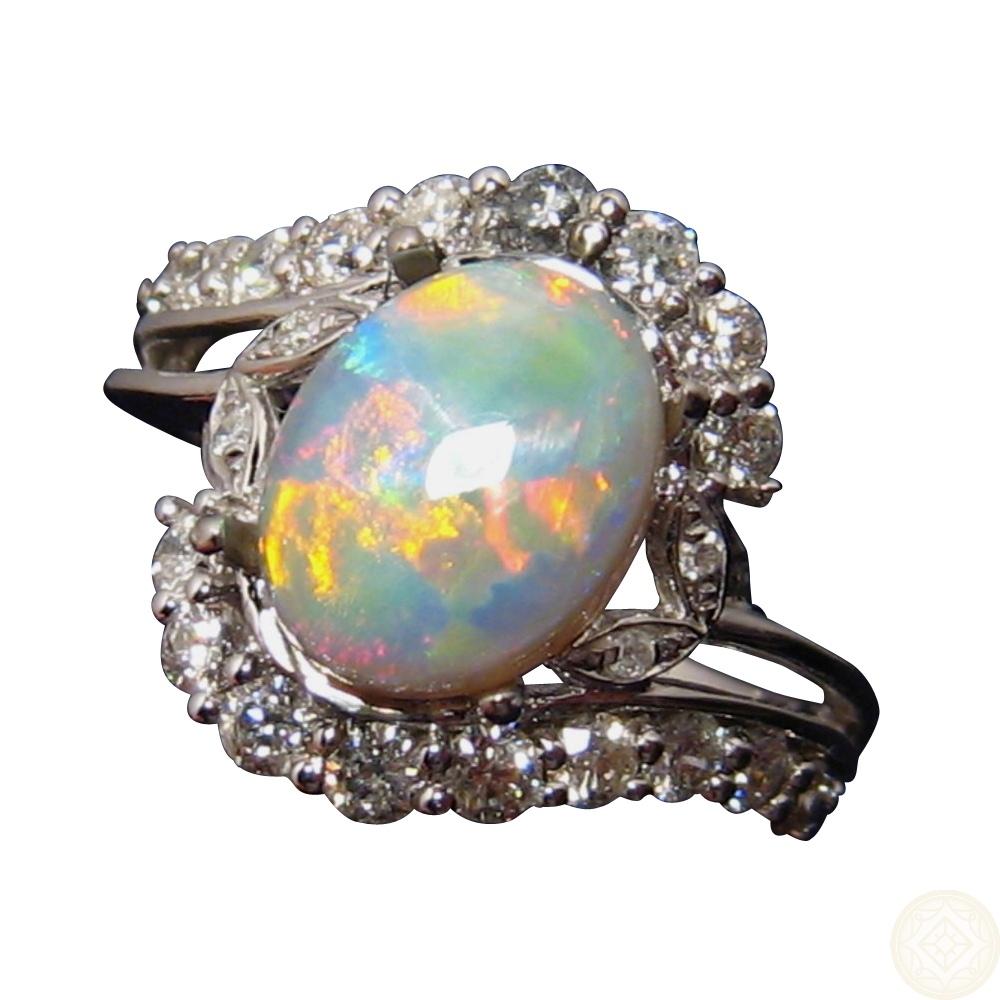 Semi Black Opal And Diamond Ring For Women FlashOpal