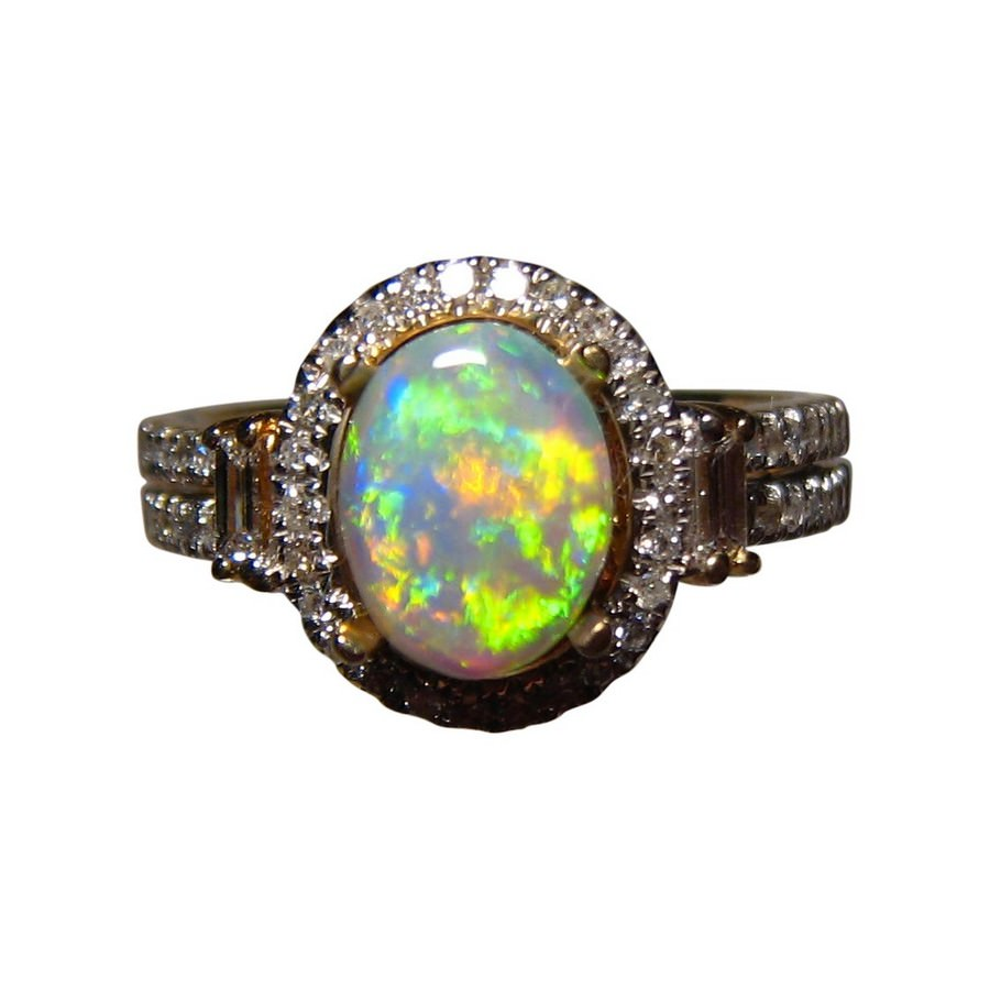 Green Opal Diamond Ring 14k Gold Opal Engagement Ring