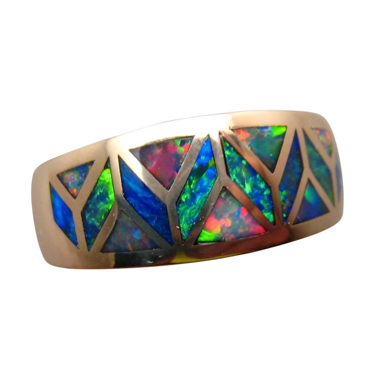Amazing Geometric Inlay Opal Ring 14k Gold Opal Rings