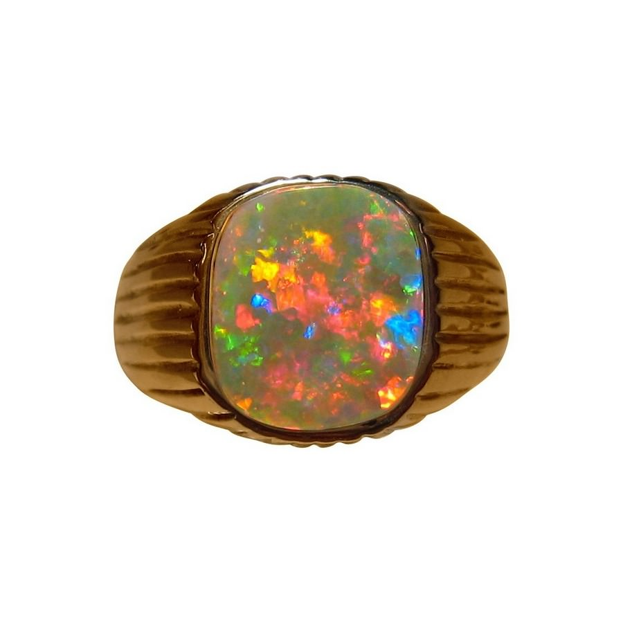 Square Opal Ring 14k Gold Wide Band Mens Opal Ring