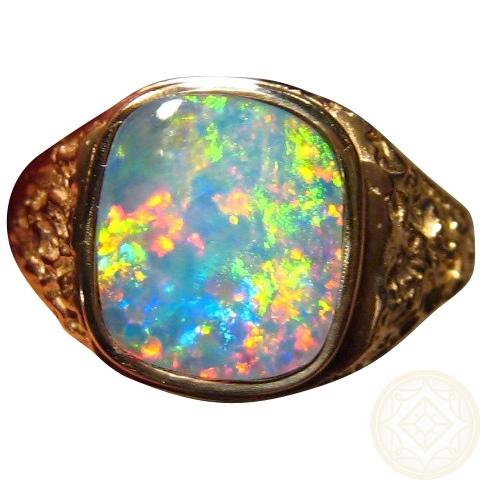 Mens Opal Ring 14k Gold Big Square Nugget Style FlashOpal