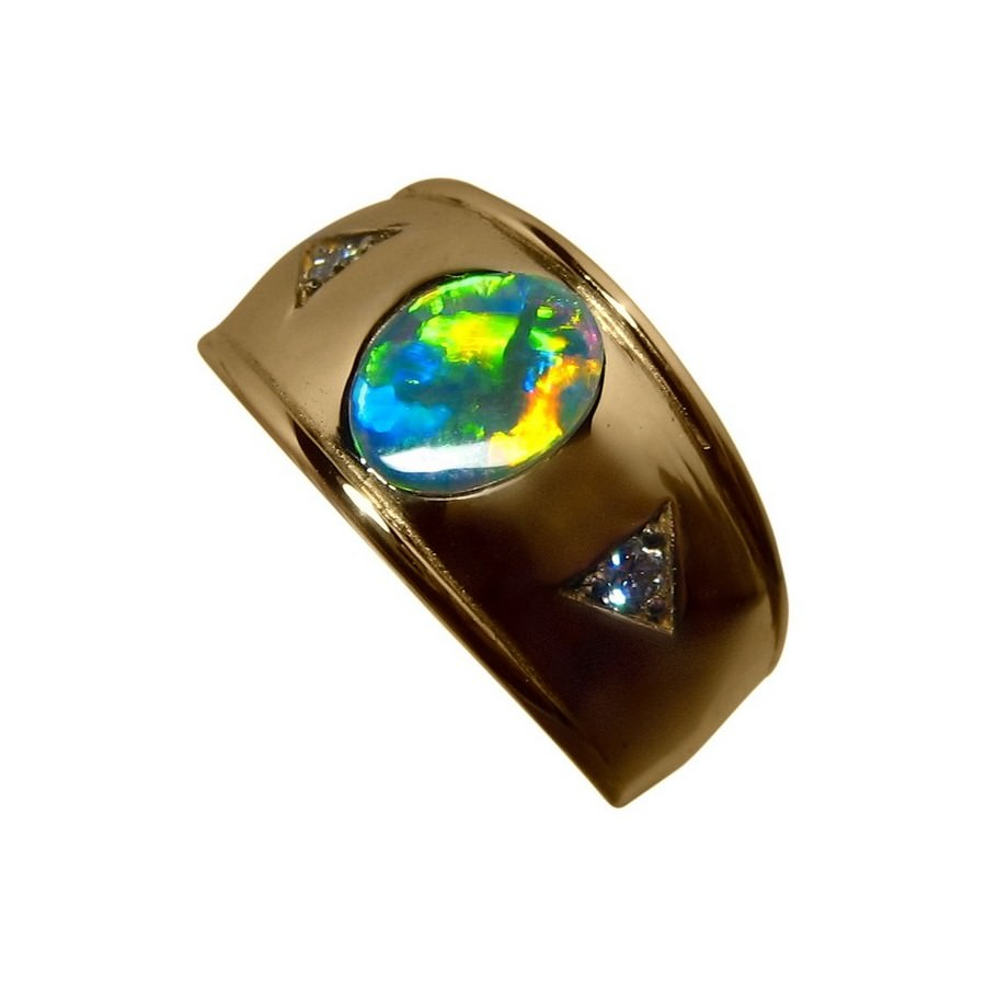 Mens Opal Ring Diamonds 14k Wide Band Opal Rings Men
