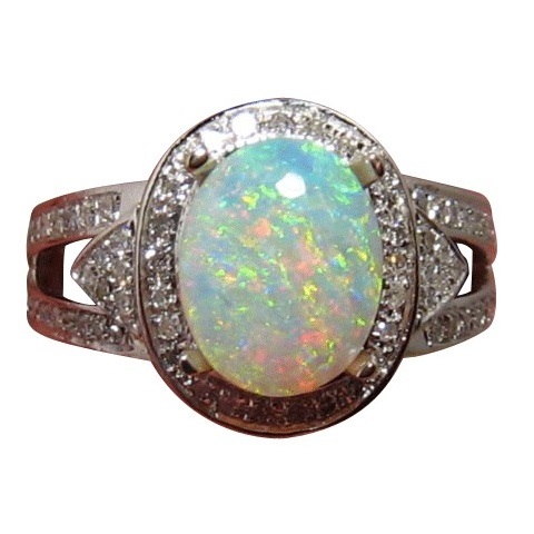 Crystal Opal Diamond Ring Colorful Natural Gem FlashOpal