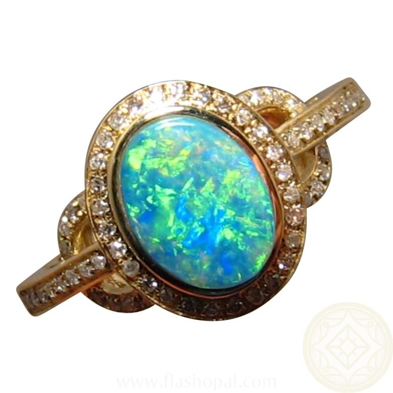 Opal Diamond Ring 14k Gold Green Crystal Opal Rings