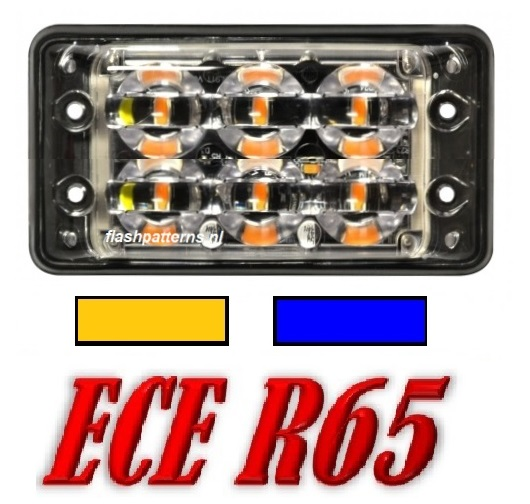 SSLT6D Super dun led flitser 6 X 3 WATT hoog intensiteit leds ECER65 Amber of Blauw 12 24V aan nr3