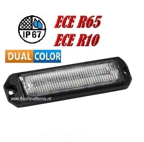 R12 12 x 5w Led Flitser ECER65 HOOG INTENSITEIT LEDS dual color