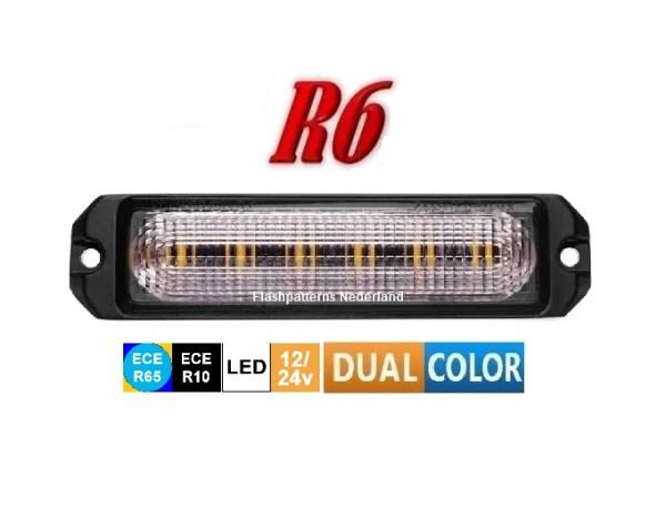 R6 Led Flitser ECER65 dual color Super Fel 12 x 5 Watt Hoog Intensitiet Leds 12-24V