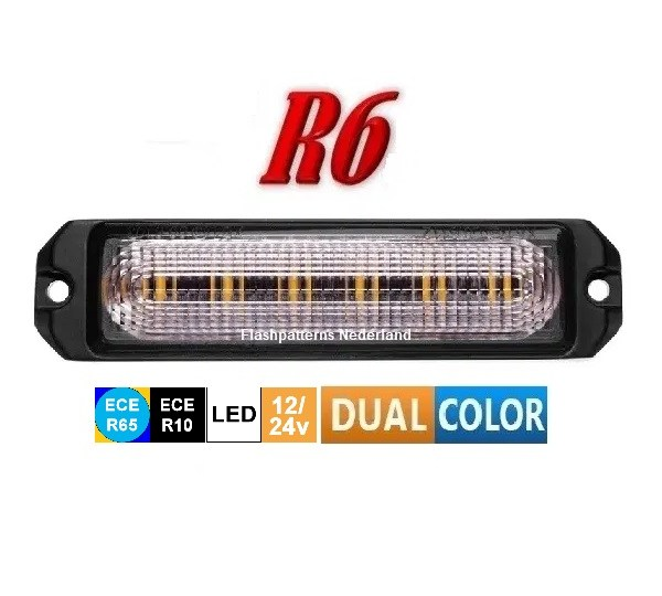 R6 Led Flitser ECER65 dual color Super Fel 12 x 5 Watt Hoog Intensitiet Leds 12-24V