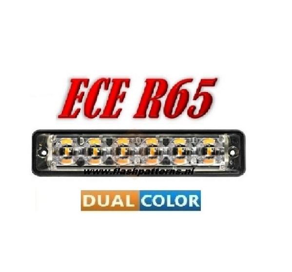 Led Flitser SSLT6 Dual Color 2 X 6 X 3 WATT ECER65 12/24V Amber – Blauw