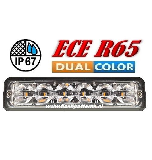 SSLT6 Super dun led flitser Dual Colour 2 X 6 X 3 WATT ECER65 Amber Blauw 12 24V