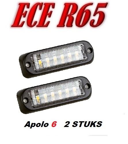 apolo R65 gekeurd led flitsers led kleur amber of blauw lens kleur helder doorzichtig 2 stuks