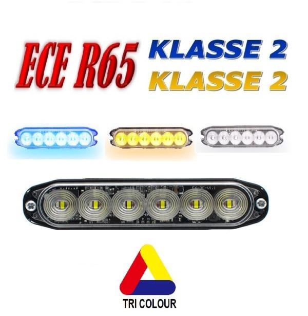 E6 Led Flitser – ECE R65 KLASSE 2 TRI COLOUR (3 kleuren) 12/24V Amber/Blauw/Wit of Blauw/Rood/Wit