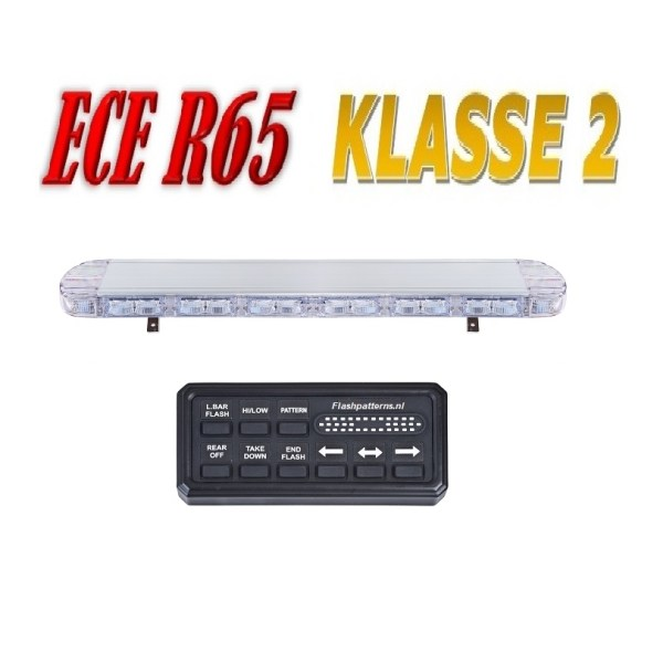 Hybride LED Lightbar R65 Class II Certified 1060mm CLEAR with digi coltrolbox