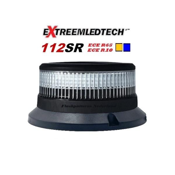 112SR vast bout montage super fel led zwaailamp r65 klasse 1 en 2 Helder lens flashpatterns.nl
