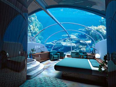 Artist impression of an underwater hotel room (Pic courtesy of www.flashydubai.com)