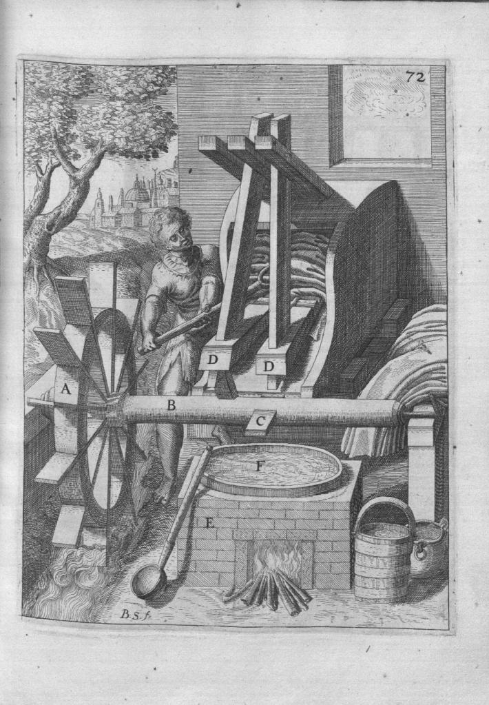 Engraving of a man operating an ancient fulling paddle