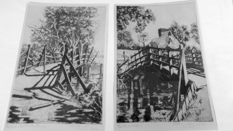 Etchings of Flatford Bridge in poor condition and Bridge Cottage - 1944 by D O'Connell